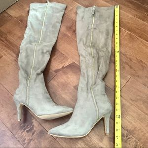 Sueded taupe over the knee zipper heeled boots